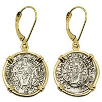 Hungarian dated 1539 and 1541, Madonna and Child denar in 14k gold earrings.
