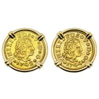 Spanish King Philip V half escudos dated 1742 and 1744 in 14k gold earrings.