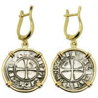 Antioch 1163-1188, Crusader Cross denier in 14k gold earrings.