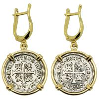 Spanish Philip V and Ferdinand VI half reales dated 1738 and 1748, in 14k gold earrings.