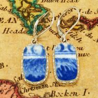 British Pottery Artifact in silver earrings, (1800 - 1820) Eastern Caribbean Sea Shipwreck.