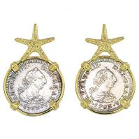 Spanish 1/2 reales dated 1783, in 14k gold Starfish earrings, The 1784 Shipwreck that Changed America.