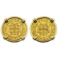 Portuguese 400 Reis dated 1729 and 1734 with cross and crown in 14k gold earrings.