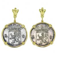 Dutch 2 stuivers dated 1724 in 14k gold earrings, 1725 East Indiaman Shipwreck Norway.