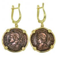 Roman Empire AD 330-336, Constantinopolis and Victory nummus in 14k gold earrings.