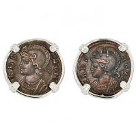 Roman Empire AD 330 - 333, Roma and Suckling Twins nummus in 14k white gold earrings.