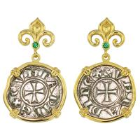 #8668 Crusader Cross Denaro Earrings