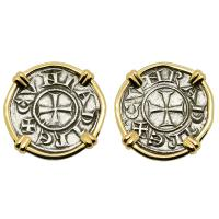 Italian 1139-1252, Crusader Cross denaro in 14k gold earrings.