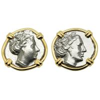 Greek 340-170 BC, Nymph Histiaia tetrobols in 14k gold earrings.