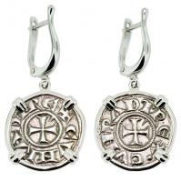 #9204 Crusader Cross Denaro Earrings