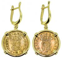 #9242 King Ferdinand VI Half Escudo Earrings