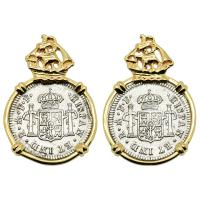 Spanish 1/2 reales dated 1783 in 14k gold Galleon earrings, The 1784 Shipwreck that Changed America.