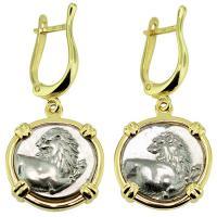 #9282 Lion Hemidrachm Earrings
