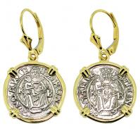 Hungarian dated 1548 and 1550, Madonna and Child denar in 14k gold earrings.