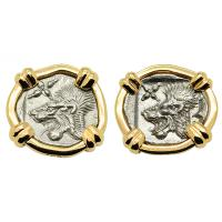 Greek 450-400 BC, Lion and boar hemiobols in 14k gold earrings.