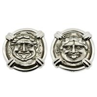 Greek 350-300 BC, Gorgon and Bull hemidrachms in 14k white gold earrings.