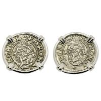 Hungarian dated 1536 and 1548, Madonna and Child denar in 14k white gold earrings.