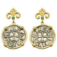 Italian 1139-1252, Crusader Cross denaro in 14k gold earrings with emeralds.