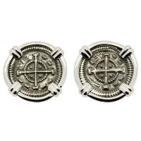 Hungarian 1131-1141, King Bela II Crusader Cross denar in 14k white gold earrings.