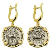 SOLD King Azes and Zeus Drachm Earrings