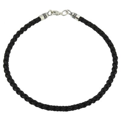 Braided Bolo 4mm Leather Necklace with Sterling Silver End Caps & Trigger Clasp