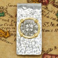 Italian 1139-1252, Crusader Cross denaro in 14k gold bezel on silver money clip.