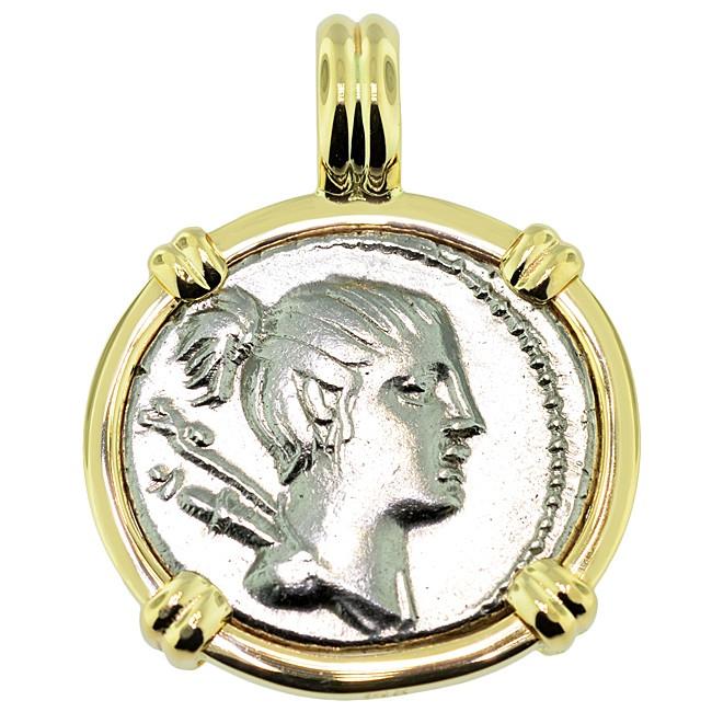 74 Bc Roman Goddess Diana Denarius Coin Pendant