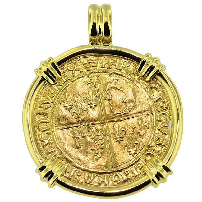 France francis i golden shield ecu coin necklace sold french king francis i ecu pendant please explore our gold coin pendants for similar aloadofball Choice Image