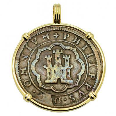 SOLD King Philip II Four Maravedis Pendant; Please Explore Our Spanish Treasure Pendants For Similar Items.