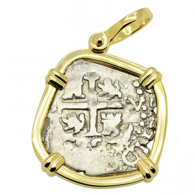 SOLD King Charles II Spanish 1 Real Pendant; Please Explore Our Spanish Treasure Pendants For Similar Items.