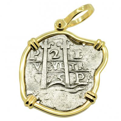 SOLD King Charles II Spanish 2 Reales Pendant. Please Explore Our Spanish Treasure Pendants For Similar Items.