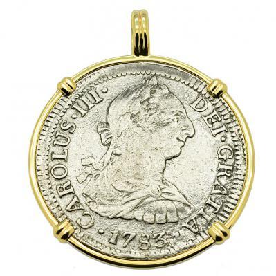 SOLD El Cazador Shipwreck 2 Reales Pendant Please Explore Our Spanish Treasure Pendants For Similar Items.