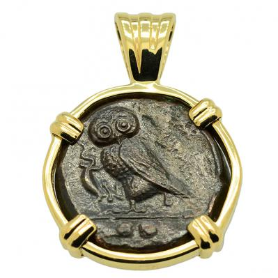 SOLD Owl and Athena Tetras Pendant; Please Explore Our Greek Pendants For Similar Items.