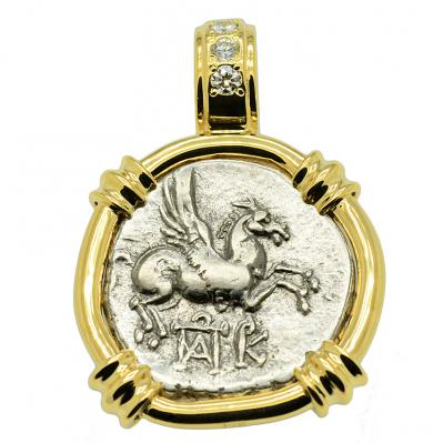 SOLD Pegasus and Dionysus Didrachm Pendant; Please Explore Our Greek Pendants For Similar Items.