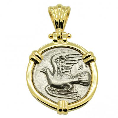 SOLD Sikyon Dove Triobol Pendant. Please Explore Our Greek Pendants For Similar Items.