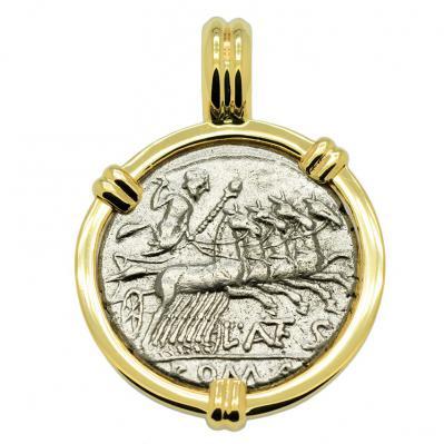 SOLD Jupiter Chariot and Roma Denarius Pendant Please Explore Our Roman Pendants For Similar Items.
