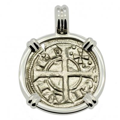 SOLD King Alfonso II Dinero Pendant; Please Explore Our Medieval Pendants For Similar Items.