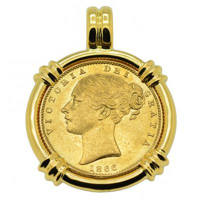 SOLD Queen Victoria Sovereign Pendant; Please Explore Our Gold Coin Category For Similar Items.