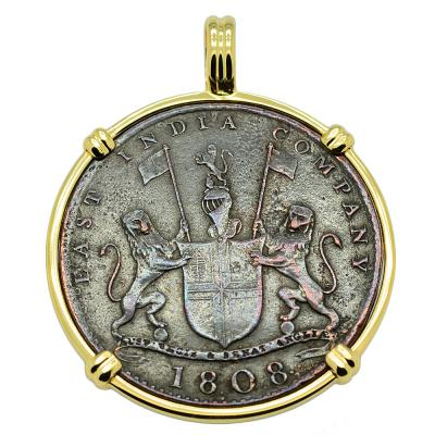 1808 Admiral Gardner 10 cash coin in gold pendant