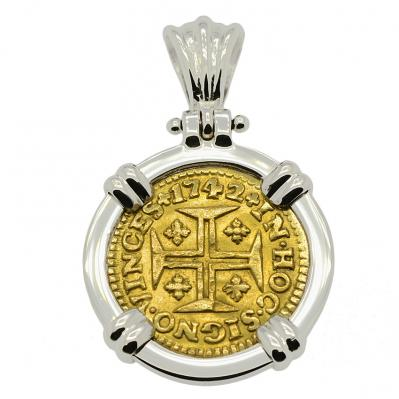 SOLD Portuguese 400 Reis Pendant. Please Explore Our Gold Coin Pendants For Similar Items.