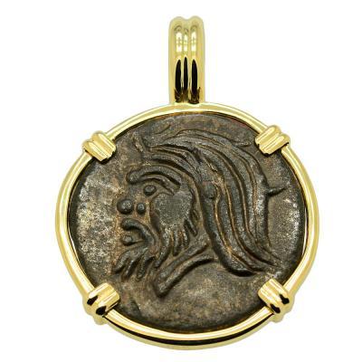 Pan and Bull Bronze Coin Pendant