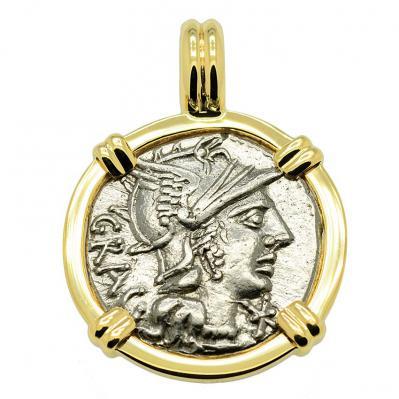 Roma and Jupiter Denarius Pendant