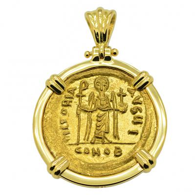 SOLD Angel and Phocas Solidus Pendant. Please Explore Our Byzantine Category For Similar Items.