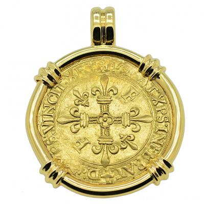 French King Francis I Ecu Pendant