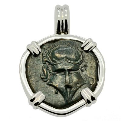 SOLD Greek Helmet Bronze Coin Pendant. Please Explore Our Greek Pendants For Similar Items.