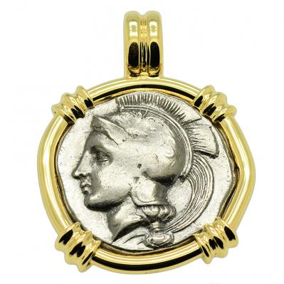 SOLD Athena and Lion Stater Pendant. Please Explore Our Greek Pendants For Similar Items.
