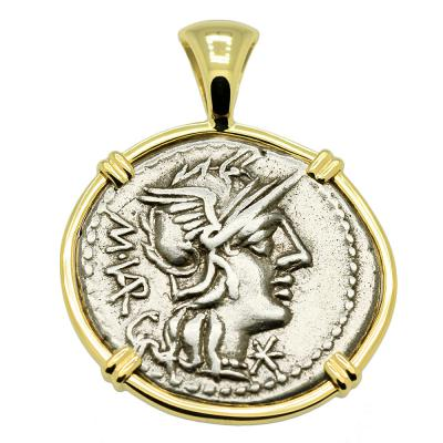 SOLD Roma and Jupiter Denarius Pendant. Please Explore Our Roman Category For Similar Items.