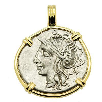 SOLD Roma and Saturn Denarius Pendant. Please Explore Our Roman Category For Similar Items.