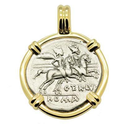 Dioscuri and Roma Denarius Pendant