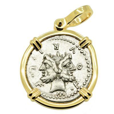 SOLD Janus and Roma Denarius Pendant. Please Explore Our Roman Pendants For Similar Items.